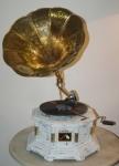 GRAMMOFONO OTTAGONALE  SHABBY colonne ottone