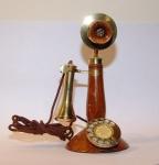 Telefono da Tavolo in teak e ottone